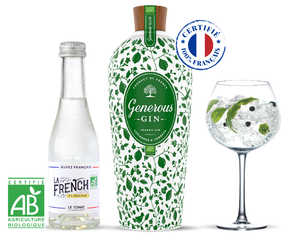 Gin tonic water 100% organic French Generous gin La French s'il vous plaît cocktail